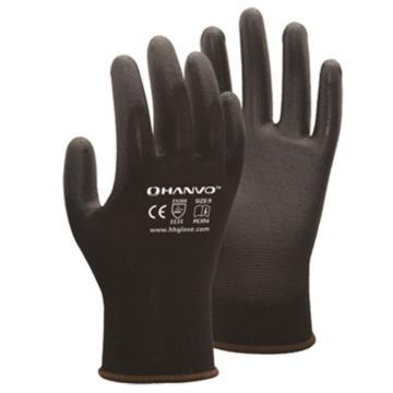 恒辉 PU涂层手套,PE304-7,13针黑化纤掌浸