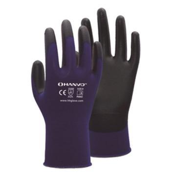 恒辉 PU涂层手套,PE802-7,18针染色尼龙黑掌浸