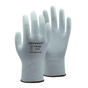 恒辉 PU涂层手套,PM300-8,13针白尼龙指浸PU涂层手套,10副/包