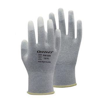 恒辉 防静电手套,PM309,13针碳纤维指浸PU防静电手套 8号,10副/包