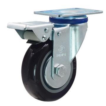 申牌 5寸尼龙中型脚轮,平底刹车 载重(kg):145 轮宽(mm):32 全高(mm):160,20A29-1021