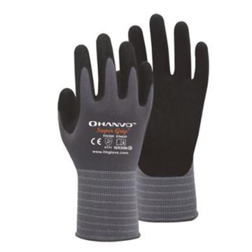 恒辉 丁腈涂层手套,NX506-8,15针灰尼龙加莱卡掌浸