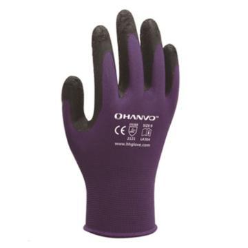 恒辉 乳胶涂层手套,LA304-9,13针紫涤纶掌浸