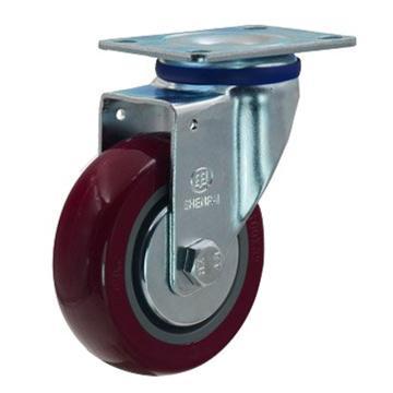申牌 3寸聚氨酯中型脚轮,平底万向 载重(kg):105 轮宽(mm):30 全高(mm):108,20A01-1014