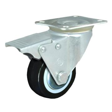 申牌 2.5寸聚氨酯轻型脚轮,平底刹车 载重(kg):40 轮宽(mm):25 全高(mm):85,15A07-1011
