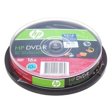 惠普 光盘,DVD-R 4.7G/16X 10片装 空白刻录盘 单位:桶