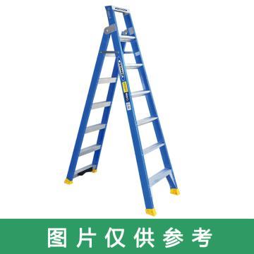 稳耐 玻璃钢两用梯 人字梯级数:8 额定载重(kg):150 人字梯长(m):2.43 直梯级数:14,DP6008CN