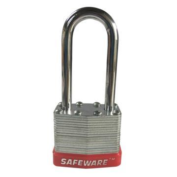 安赛瑞 长梁钢制千层安全挂锁-红,锁梁Ф6mm,锁体长37mm,锁杆长度52mm,14712