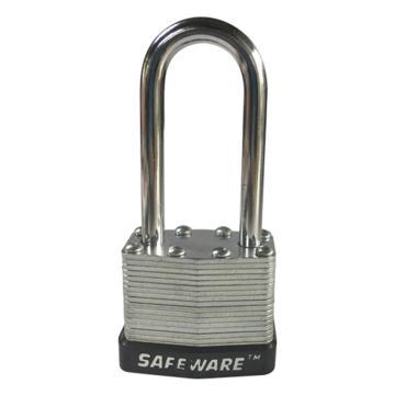 安赛瑞 长梁钢制千层安全挂锁-黑,锁梁Ф6mm,锁体长37mm,锁杆长度52mm,14716