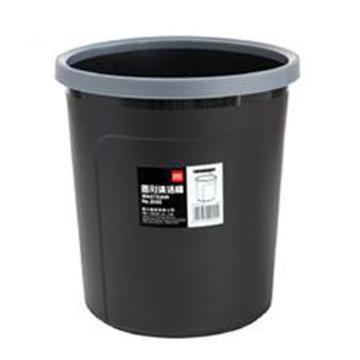 得力垃圾桶,扣式圆形,9555 黑色