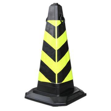 Raxwell 塑料提环方尖锥,黄黑,高700mm,底座320×320mm