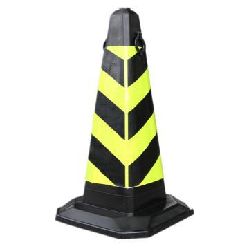Raxwell 橡胶方锥,黄黑,加厚集中,高700mm,底座400×400mm