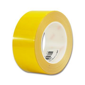安赛瑞 耐磨型划线胶带,高性能自粘性PP表面覆超强保护膜,50mm×22m,黄色,15644