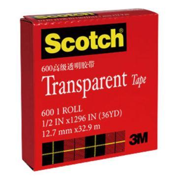 """3M Scotch® 胶带,600 高效透明胶带 1/2""""*33M,单位:卷"""