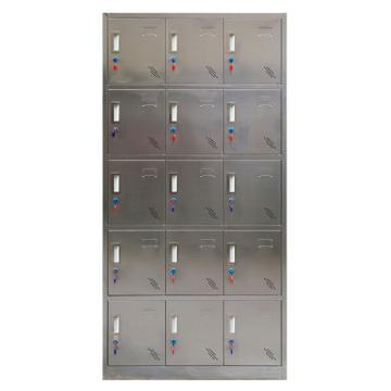 西域推荐 304不锈钢十五门更衣柜,900宽*350深*1800高,灰白色,钢板厚度为0.7mm