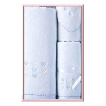 金号毛巾,无捻割绒 SK1022WH,夏恋系列20-毛巾1条 浴巾1条 方巾1条(蓝色)