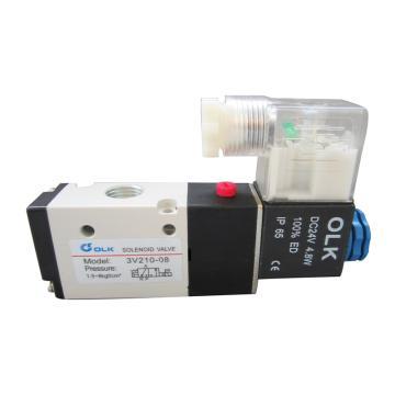 欧雷凯OLK 电磁阀,2位3通,PT1/8,常开型,3V210-06-AC220V-NO