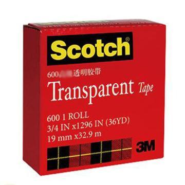 3M Scotch® 胶带,600 高效透明胶带 3/4英寸*33M,单位:卷