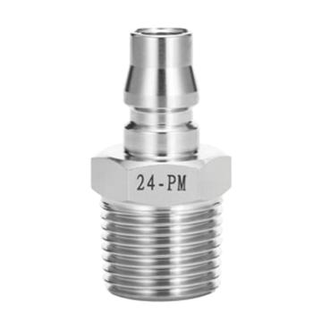 "JPE 外螺纹插头,外牙PT1/4"",不锈钢304,AS4-22PM-R"