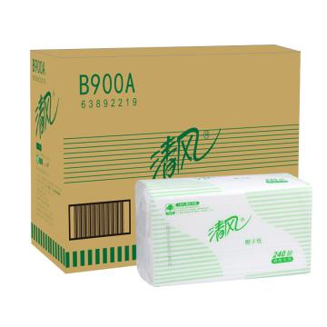 清风(Breeze)二折擦手纸,B900A单层,240抽/包,20包/箱 单位:箱