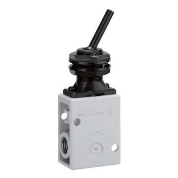 SMC 机控阀,手动操作,肋杆式,侧配管,二位二通,R1/4,VM220-02-08A