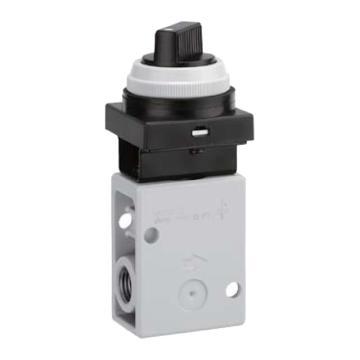 SMC 机控阀,手动操作,黑色旋钮(2位),侧配管,二位二通,R1/4,VM220-02-34BA