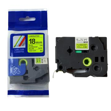 普贴 标签色带,荧光黄底黑字TZ2-C41宽度18mm 适用于兄弟TZ系列标签机 单位:卷