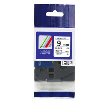 普贴 标签色带,白底黑字TZ2-221宽度9mm 适用于兄弟TZ系列标签机 单位:卷