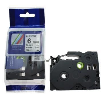 普贴 标签色带,白底黑字TZ2-211宽度6mm 适用于兄弟TZ系列标签机 单位:卷