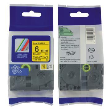 普贴 标签色带,黄底黑字TZ2-611宽度6mm 适用于兄弟TZ系列标签机 单位:卷