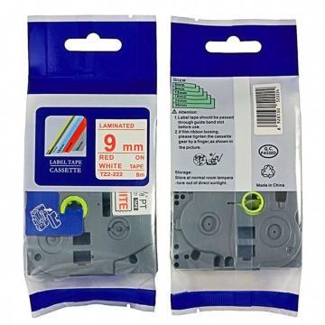普贴 标签色带,白底红字TZ2-222宽度9mm 适用于兄弟TZ系列标签机 单位:卷