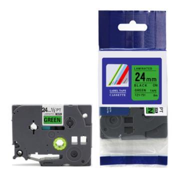普贴 标签色带,绿底黑字TZ2-751宽度24mm 适用于兄弟TZ系列标签机 单位:卷