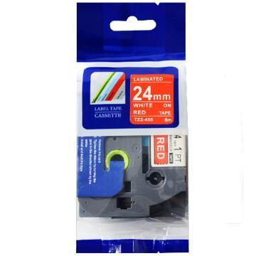 普贴 标签色带,红底白字TZ2-455宽度24mm 适用于兄弟TZ系列标签机 单位:卷