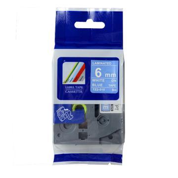 普贴 标签色带,蓝底白字TZ2-515宽度6mm 适用于兄弟TZ系列标签机 单位:卷