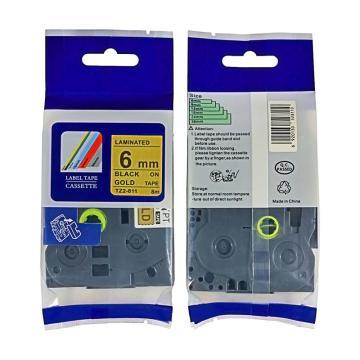 普贴 标签色带,金底黑字TZ2-811宽度6mm 适用于兄弟TZ系列标签机 单位:卷