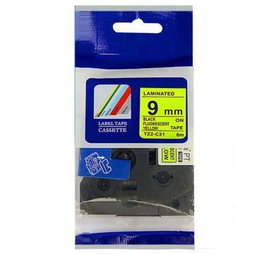 普贴 标签色带,荧光黄底黑字TZ2-C21宽度9mm 适用于兄弟TZ系列标签机 单位:卷