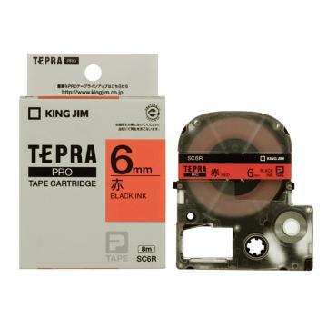 锦宫 彩色标签(浅淡色),红底黑字,6mmx8m,适用锦宫标签机 单位:卷