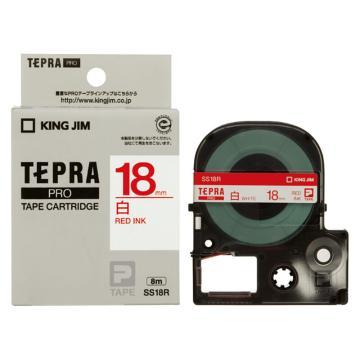 锦宫 白色标签色带, 白底红字 18mmx8m,适用锦宫标签机 单位:卷