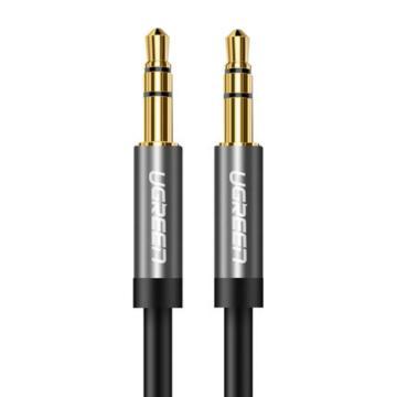 绿联 AUX车载音频线, 手机、MP3/4接音箱音频线 圆线黑色直头对直头 镀金1米 单位:条