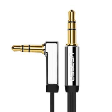 绿联 AUX车载音频线, 手机、MP3/4接音箱音频线 面条线 黑色直头对弯头90度 镀金 0.5米 单位:条