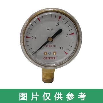 """捷锐压力表 G20B-2.5M,2""""铜壳,2.5MPa,1/4NPT"""