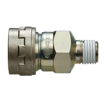 SMC 对接式外牙快插插座,带单向阀,KK130S-02MS