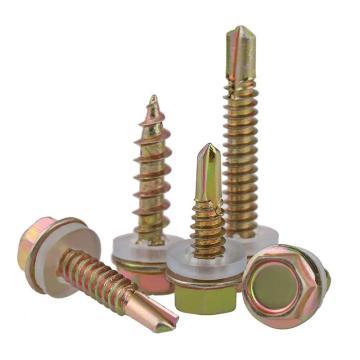 大和 简工,六角法兰面自攻自钻螺钉带垫片,ST4.8-1.27X90,彩锌,170个/盒,(适用于3-4mm钢板)