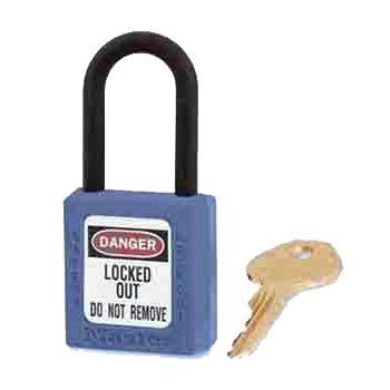 玛斯特锁MasterLock 蓝色XENOY工程塑料安全锁,塑料锁钩、绝缘、防磁、防电火花,406MCNBLU
