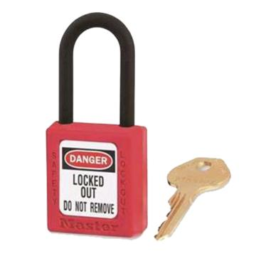 玛斯特锁MasterLock 红色XENOY工程塑料安全锁,塑料锁钩、绝缘、防磁、防电火花,406MCNRED