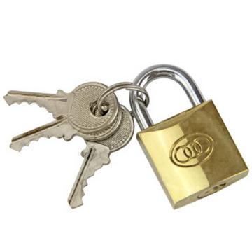 三环 黄铜挂锁,锁体20×20×6mm,锁梁Ф3.2mm,锁梁宽17.3mm,总高33mm,261-20mm