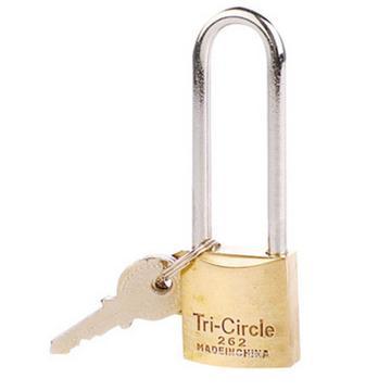 三环 长梁黄铜挂锁,锁体25×26mm,锁梁Ф4.3mm,锁梁内宽14mm,总高76.5mm,L262-25mm