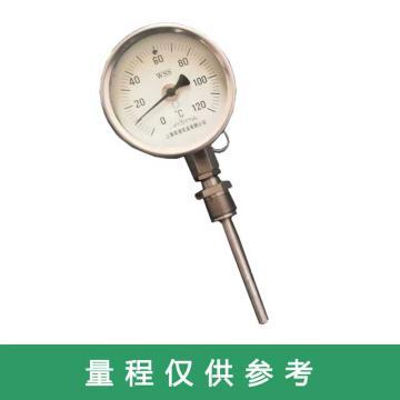 不锈钢万向型双金属温度计,WSS-483 Φ100 抽芯 0-100℃ 插深75mm 保护管Φ10 精度1.5 固定外M27*2