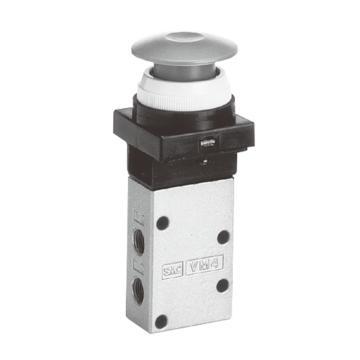 SMC 3通机控阀,绿色按钮式(蘑菇头),VM430-01-30G