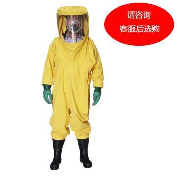 海固 国标3级氯丁胶重型全封闭防化服,HG-3NL-XXL,含手套及胶靴 颜色随机